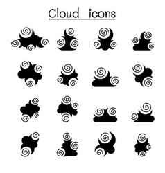 abstract cloud icon set vector image
