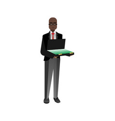 African investor with open suitcase vector