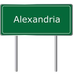 alexandria indiana road sign green illu vector image