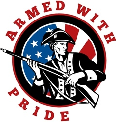American revolutionary soldier with rifle flag vector image