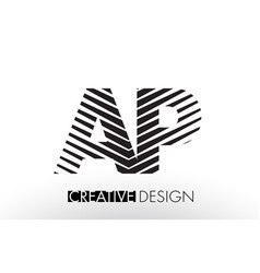 Ap a p lines letter design with creative elegant vector