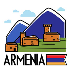 armenia traveling and tourism ancient armenian vector image