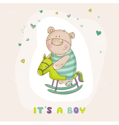 baby bear on a horse - shower card vector image
