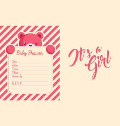 Baby girl shower invite greeting card vector