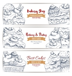 Bakery shop desserts sketch banners set vector image