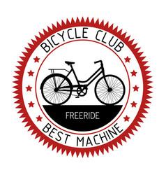 bicycle emblem sport club design vector image