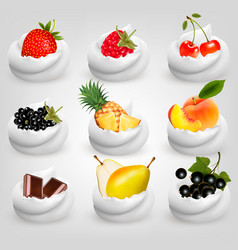 big collection of fruit in cream strawberry vector image