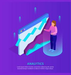 business analytics isometric background vector image