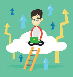 business man sitting on cloud with laptop vector image