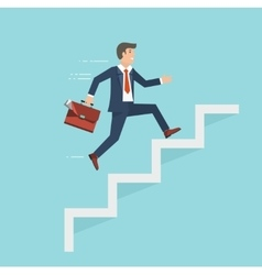 Businessman with suitcase climbing the stairs vector