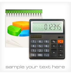Calculator notepad diagram vector