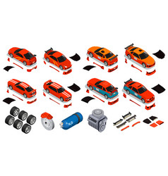 Car tuning isometric icons set vector