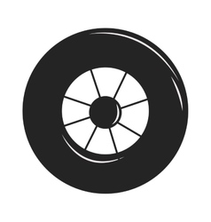 Car wheel cartoon flat on vector