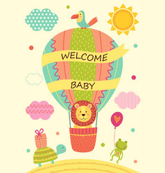 card with lion on air balloon and other animals vector image