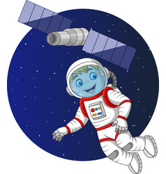cartoon boy astronaut flying in space vector image