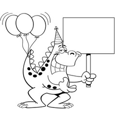 Cartoon dinosaur with balloons and a sign vector