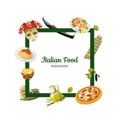 cartoon italian cuisine elements with place vector image