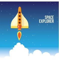 cartoon launching rocket vector image