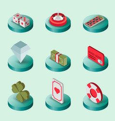 casino flat isometric set vector image