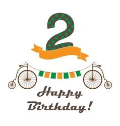 Celebration card for 2st birthday vector image