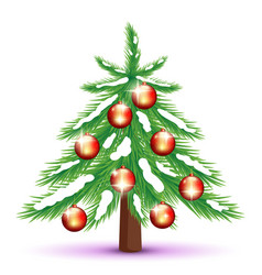 Christmas tree with red balls vector