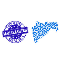 Collage map of maharashtra state with water drops vector