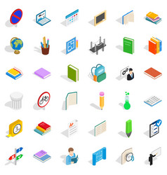 College book icons set isometric style vector
