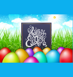 colorful eggs in a field of grass with blue sky vector image