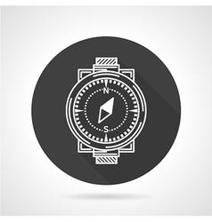 Compass black round icon vector image