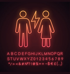 Couple quarrel neon light icon vector