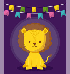 cute lion with garlands icon vector image