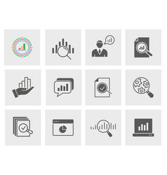 Data analysis icon set isolated vector