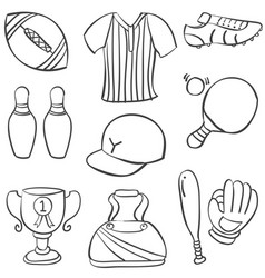 Doodle of sport equipment hand draw vector
