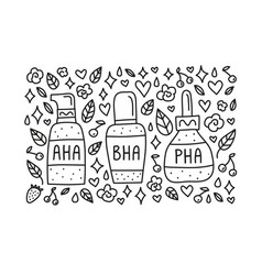 Doodle poster with aha bha pha vector