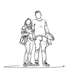 drawing young couple standing together holding vector image