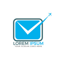 fast mail with airplane sign logo design vector image