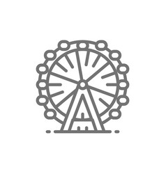 ferris wheel london eye line icon vector image
