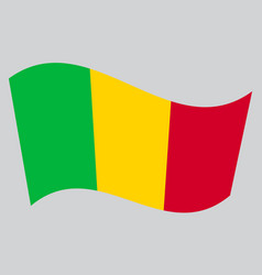 flag of mali waving on gray background vector image