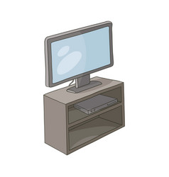 Flat tv stand with monitor and play console vector