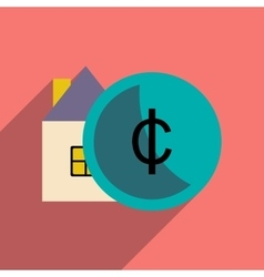 Flat with shadow icon house and coins vector