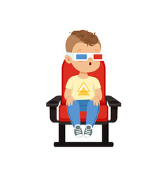 Funny cute little boy in 3d glasses sitting on a vector