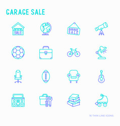 garage sale flea market thin line icons set vector image