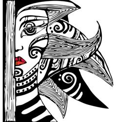 Girl Face Half vector image