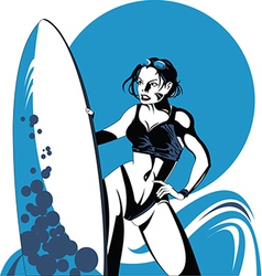 Girl surfing vector image