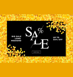 gold sale background in frame golden glitter vector image