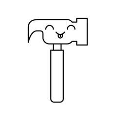 Hammer tool kawaii character vector