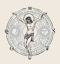 hand-drawn banner with jesus and esoteric symbols vector image