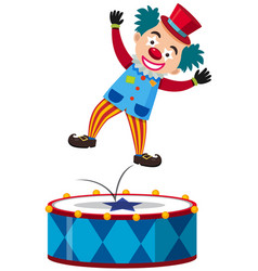 happy clown jumping on big drum vector image
