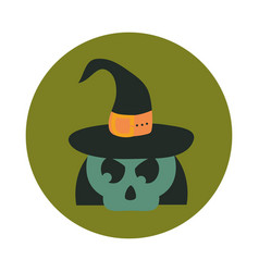 happy halloween green skull with witch hat trick vector image