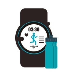 Heart rate wrist monitor and sports bottle icon vector